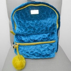 Betsey Johnson Teal Cotton Star Embossed Backpack